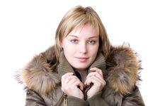 Young Girl In A Jacket With A Fur Collar Royalty Free Stock Images