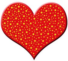 Free Big Red Heart With Stars Royalty Free Stock Image - 3722636