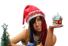 Free Christmas Girl With New Home Toy Stock Images - 3723834