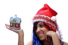 Free Christmas Girl With New Home Toy Royalty Free Stock Images - 3723839