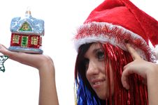 Free Christmas Girl With New Home Royalty Free Stock Images - 3723849