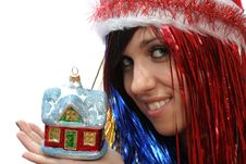 Free Christmas Girl With New Home Royalty Free Stock Photography - 3723857