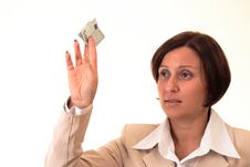 Free White Businesswoman With Five Euros Stock Images - 3723874