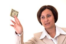 Free White Businesswoman With Ten Bucks Stock Images - 3723914
