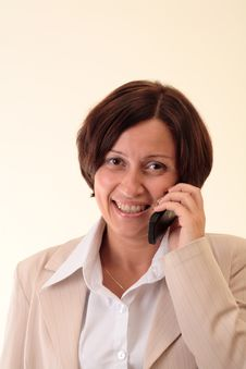 Free White Businesswoman With Handy, Happy Stock Photography - 3723942