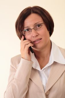 Free White Businesswoman With Handy Stock Image - 3724061