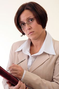 Free White Businesswoman With Notepad Royalty Free Stock Photography - 3724157