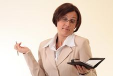 Free Beauty White Businesswoman With Notepad Stock Photo - 3724230