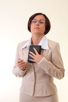 Free Beauty White Businesswoman With Notepad Stock Photography - 3724242