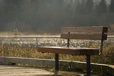 Free Bench On Lake Walkway Royalty Free Stock Image - 3724556