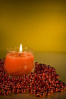 Free Christmas Decorations With Lit Candle Stock Photo - 3724920