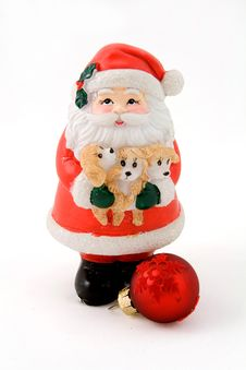 Free Santa Claus And A Red Ball Royalty Free Stock Photo - 3726195