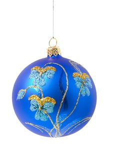 Free Blue Christmas Ball With Ornament Royalty Free Stock Images - 3726329