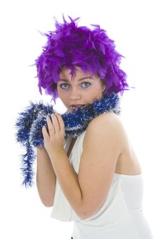 Beautiful Woman With Christmas Decoration Stock Image