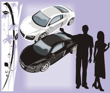 Free Silhouettes Of The People. Cars Royalty Free Stock Photos - 3728398