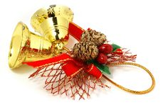 Golden Bells With Red Ribbon Royalty Free Stock Photo