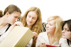 Girls Opened Gifts Stock Photo