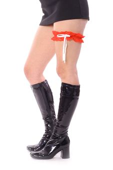 Free Skirt With Knee High Leather Boots & Garter Royalty Free Stock Image - 3729016