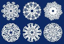 Free Six Christmas Snowflakes Royalty Free Stock Image - 3729286
