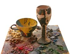 Bowl From Papier-mache And Cup Royalty Free Stock Photo