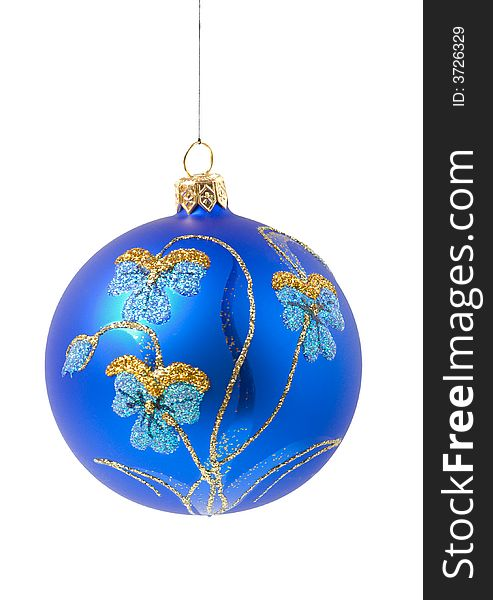 Blue christmas ball with ornament