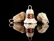 Free Reflection Of  Wicker Christmas Bells Royalty Free Stock Images - 3730479