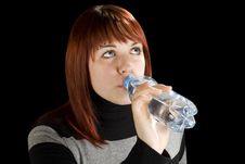 Free Redhead Girl Drinking Water Stock Images - 3730654