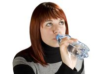 Free Redhead Girl Drinking Water Royalty Free Stock Image - 3730656