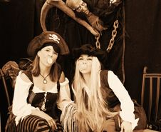 Free Pirates Girls Blowing A Bubble Royalty Free Stock Images - 3731709