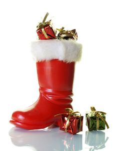 Free Santa S Boot And Presents Stock Photography - 3732282