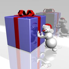 Free Snowman And Gift Royalty Free Stock Image - 3732346