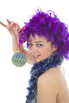 Beautiful Woman With Christmas Decoration Stock Photo