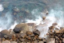 Waves Against Rocks Royalty Free Stock Photography