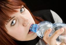 Free Girl Drinking Water Stock Photography - 3736252