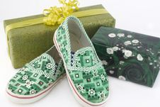 Free Two Gift Boxes And Green Shoes Royalty Free Stock Photo - 3736965