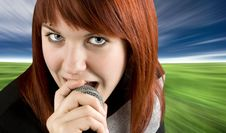 Free Girl Singing Karaoke On Microphone Stock Photography - 3737022