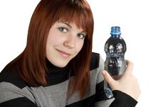 Free Redhead Girl Holding Water Bottle Royalty Free Stock Photography - 3737167