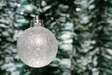 Free Christmas Decoration - Silver Ball And Tinsel Stock Images - 3739294
