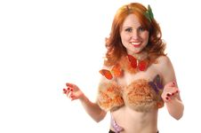 Free Woman In Fur And Butterflies Stock Photo - 3739370