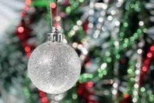 Free Christmas Decoration - Silver Ball And Calor Tinse Stock Photos - 3739413