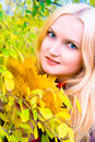 Free Autumn Girl Holding Yellow Leaves Stock Photo - 3748260