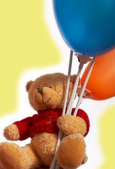 Free Teddy Bear And His Balloons Royalty Free Stock Photo - 3740475