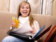 Free Smiling Woman With Orange Juice. Royalty Free Stock Image - 3741006