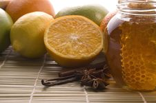Free Fresh Honey With Honeycomb, Spices And Fruits Stock Photo - 3741370