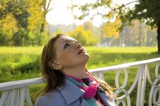 The  Woman Has A Rest In Park Stock Image