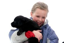 Free Little Girl With Her Dog Stock Image - 3742501