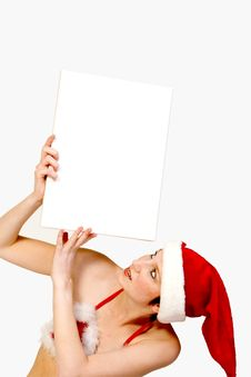Free Christmas Girl Holding Up A Wh Stock Images - 3743424