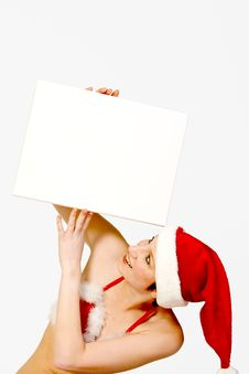 Free Christmas Girl Holding Up A White Sign For Copyspa Royalty Free Stock Images - 3743449