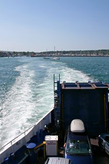 Car Ferry Leaving Port With Sea Royalty Free Stock Photography