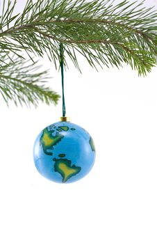 Globe Christmas Ornament Showing North And South A Royalty Free Stock Image
